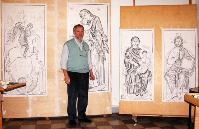 Vasile Mutu in front of the executive drawings