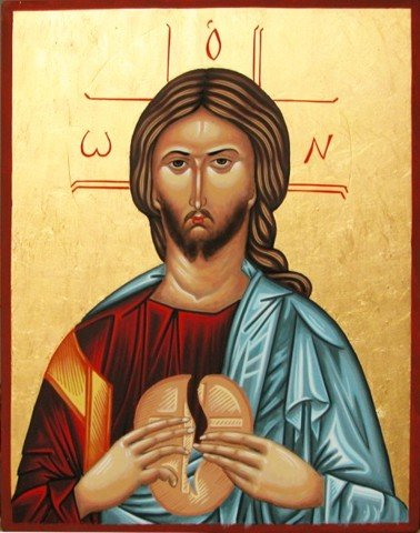 Icon of Christ breaking bread